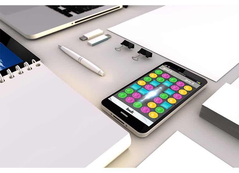 foto van mobiel op bureau